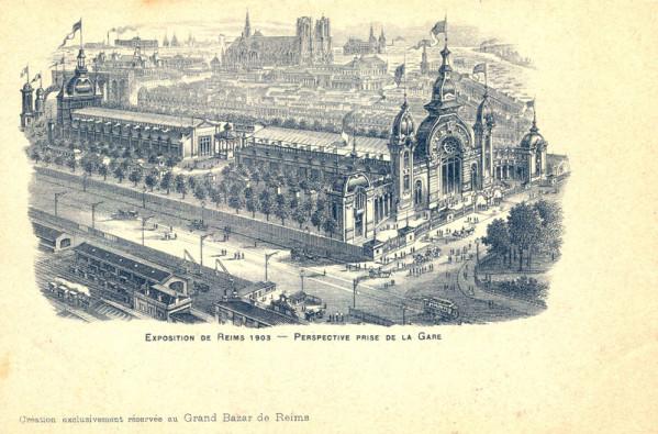 Dans cette vue dessinée et idéalisée, le kiosque des Marronniers est bien visible entre les deux principaux palais de l'Exposition de Reims.