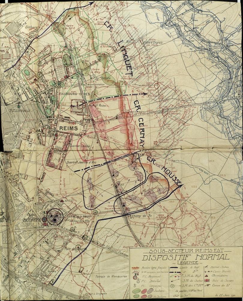 Le sous-secteur de Reims Sud le 18 décembre 1917