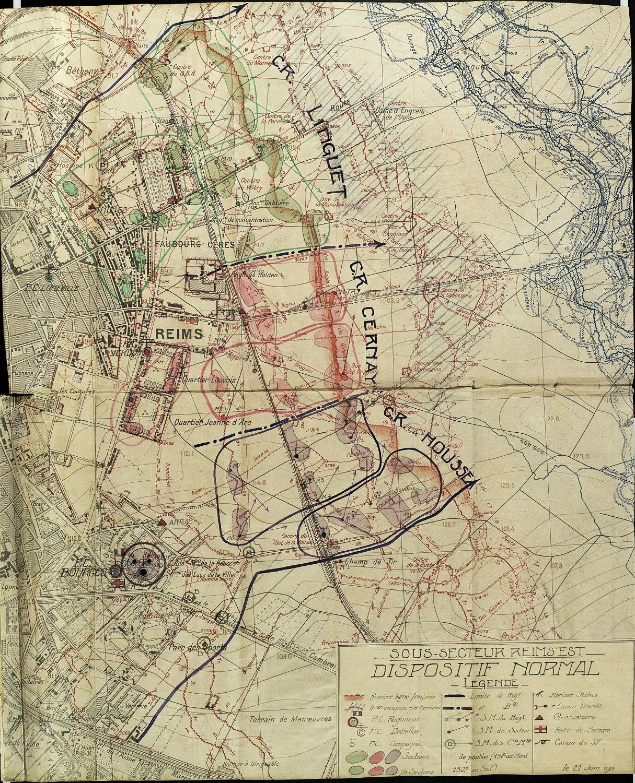 Le sous-secteur de Reims Est le 21 juin 1918