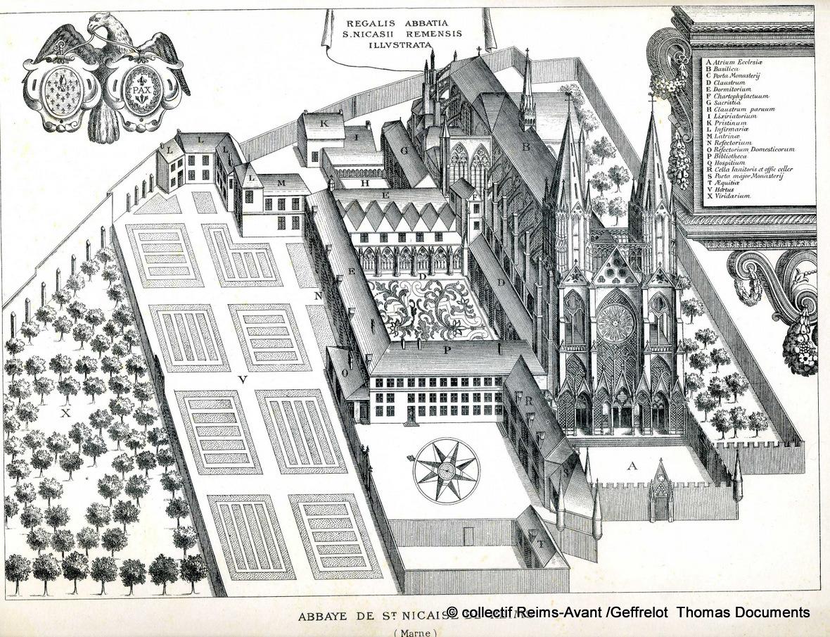 Gravure d'un plan légendé de l'église Saint-Nicaise