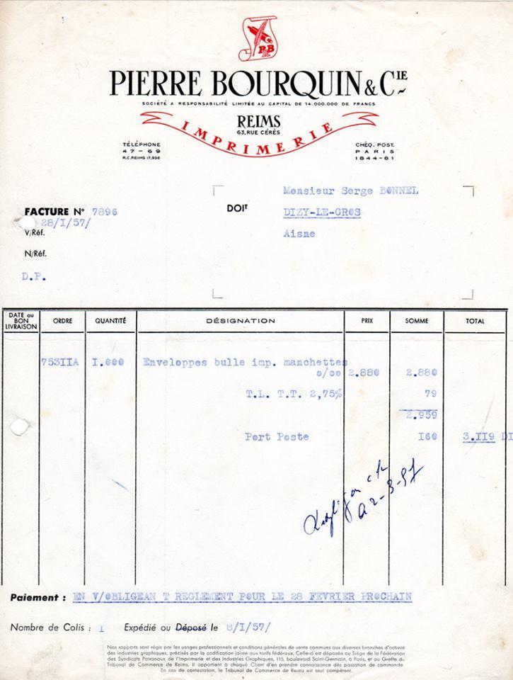 facture imprimerie Bourquin, 1957