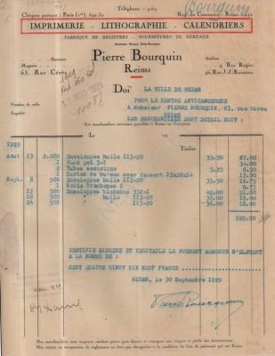 Facture bourquin 1929