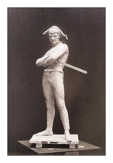 Arlequin plâtre-1880-Photo d'époque